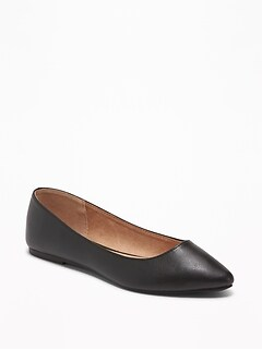 Faux-Leather Pointy Ballet Flats for Women