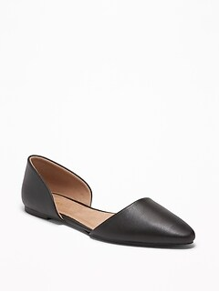 Faux-Leather D'Orsay Flats for Women