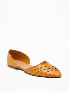 Braided Faux-Leather D'Orsay Flats for Women