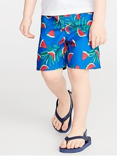 7018536138 Fruit-Print Functional-Drawstring Swim Trunks for Toddler Boys