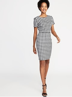 e82a7e043d927 Gingham Ponte-Knit Sheath Dress for Women