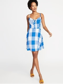Fit & Flare Gingham Cami Dress for Women