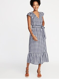 Waist-Defined Wrap-Front Gingham Midi for Women