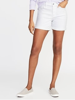 Mid-Rise Slim White Denim Midi Shorts for Women - 5-inch inseam