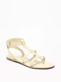 Faux-Leather Gladiator Sandals for Women
