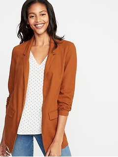 Linen-Blend Blazer for Women