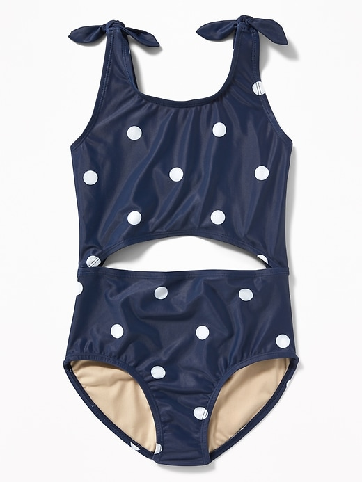 Tie-Shoulder Cutout Swimsuit for Girls