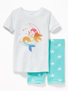 Mermaid-Graphic Sleep Set For Toddler Girls & Baby