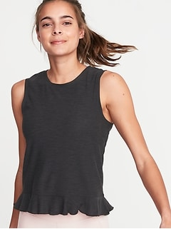 Breathe ON Relaxed Ruffle-Hem Tank for Women