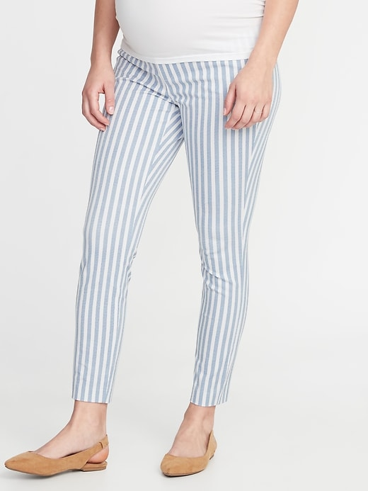 Maternity Full-Panel Striped Pixie Pants