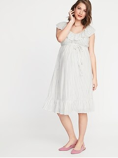 ed1afbbe860 Maternity Waist-Defined Tie-Belt Ruffled Dress