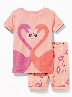 Flamingo Graphic Sleep Set For Toddler Girls & Baby