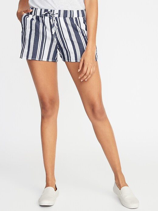 Mid Rise Striped Pull On Shorts For Women    3.5 Inch Inseam by Old Navy