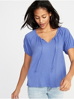 Relaxed Split-Neck Textured Top for Women