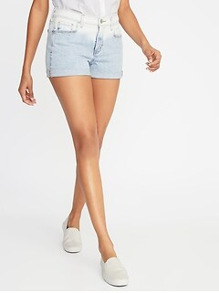 Mid-Rise Boyfriend Dip-Dye Denim Shorts for Women - 3-inch inseam