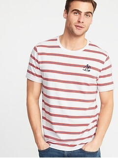 92196b8275e27 Soft-Washed Striped Embroidered-Graphic Tee for Men