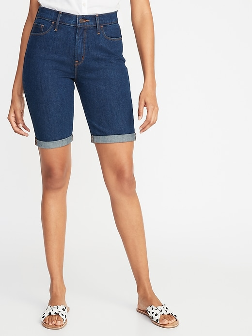 High Waisted Jean Bermudas For Women   9 Inch Inseam by Old Navy