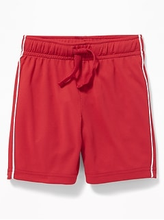 Functional Drawstring Side-Piping Mesh Shorts for Toddler Boys