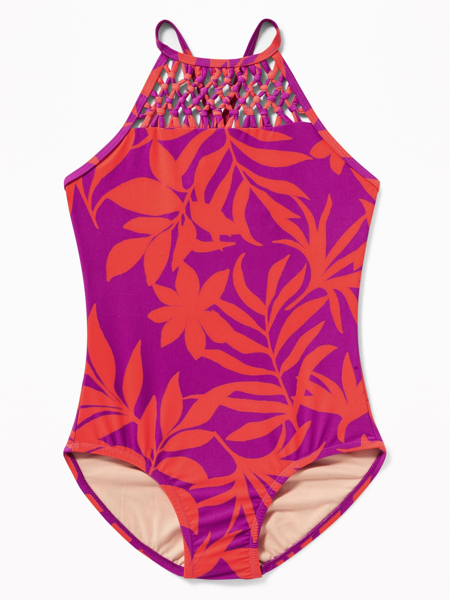 353f50bfdb2 Macramé-Yoke Printed Swimsuit for Girls | Old Navy