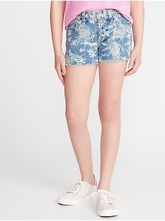 Tropical-Print Denim Cut-Offs for Girls