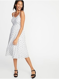 Polka-Dot Fit & Flare Midi for Women