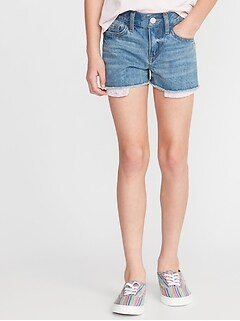 Exposed Eyelet Pocket Denim Cut-Offs for Girls