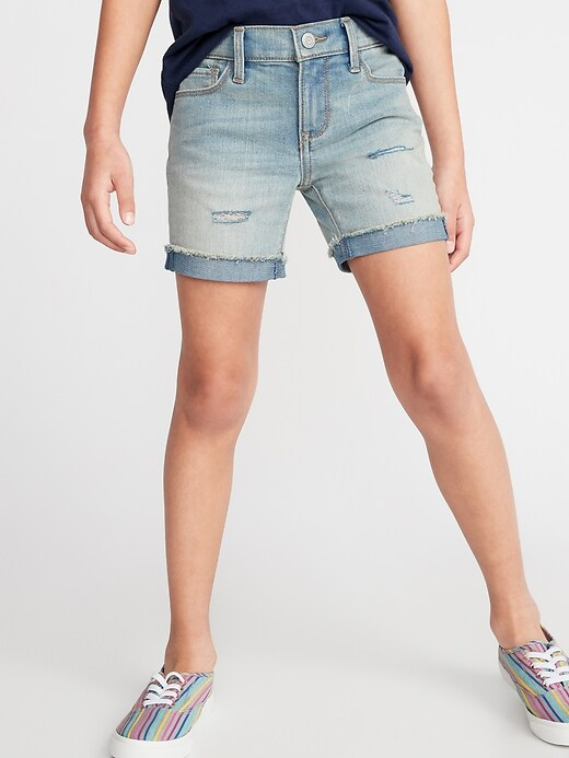 Distressed Mid-Length Jean Shorts For Girls