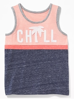 """Chill"" Graphic Color-Blocked Tank for Toddler Boys"