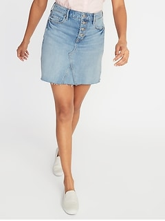 High-Rise Button-Fly Frayed-Hem Denim Mini for Women