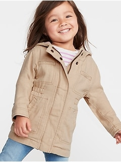 Hooded Linen-Blend Twill Jacket for Toddler Girls