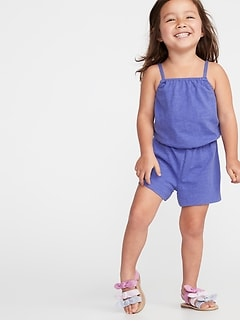 Slub-Knit Jersey Romper for Toddler Girls