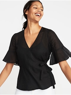 Wrap-Front Linen-Blend Top for Women