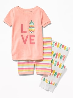 "3-Piece ""Love"" Pineapple Sleep Set For Toddler & Baby"