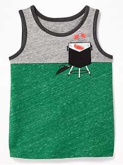 Color-Blocked Graphic-Pocket Tank for Toddler Boys