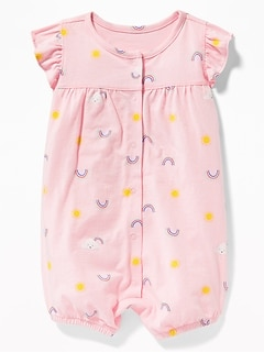 Printed Ruffle-Sleeve Snap-Front One-Piece for Baby