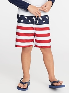 Functional Drawstring Flag-Print Swim Trunks for Toddler Boys