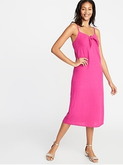 Tie-Front Linen-Blend Midi Dress for Women