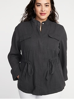 Plus-Size Linen-Blend Utility Jacket