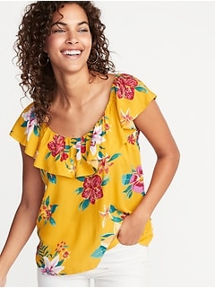 Sleeveless Ruffle-Trim Floral Top for Women