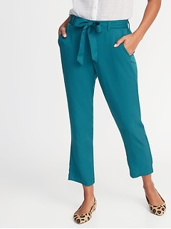 Mid-Rise Tie-Waist Soft Cropped Pants for Women