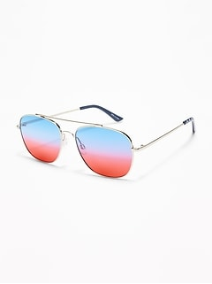 Wire-Frame Aviator Sunglasses for Women