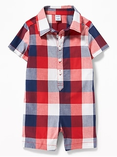 Plaid Poplin Button-Front One-Piece for Baby