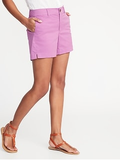 Mid-Rise Twill Everyday Shorts for Women -- 5-inch inseam
