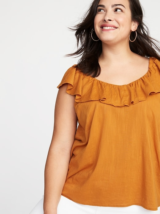 Ruffled Plus-Size V-Neck Blouse