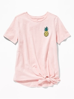 Slub-Knit Fruit-Graphic Tie-Hem Tee for Girls