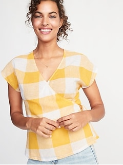Wrap-Front Side-Tie Linen-Blend Top for Women