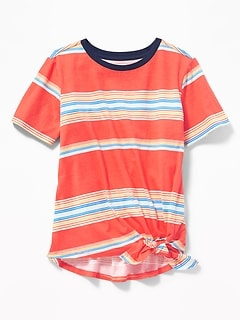 Striped Slub-Knit Tie-Hem Tee for Girls