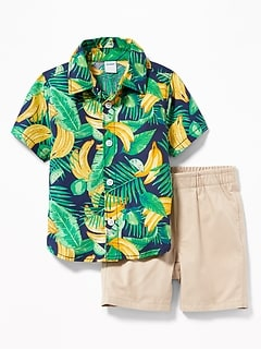 Fruit-Print Shirt & Pull-On Shorts Set for Baby