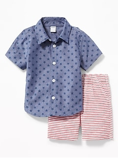 b2f8dde52 Star-Print Shirt & Striped Shorts Set for Baby