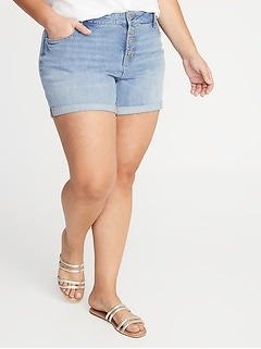High-Waisted Secret-Slim Pockets Button-Fly Plus-Size Jean Shorts - 5-Inch Inseam